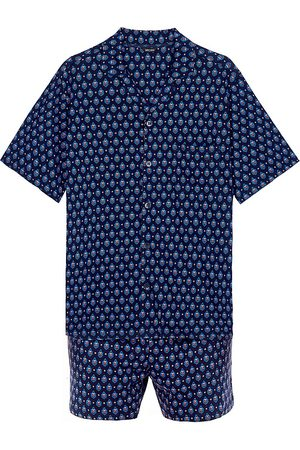 Hom Men's Frio 2-Piece Shirt & Shorts Pajama Set - Navy Print - Size XL