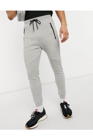 Bershka Piping sweatpants in -Grey