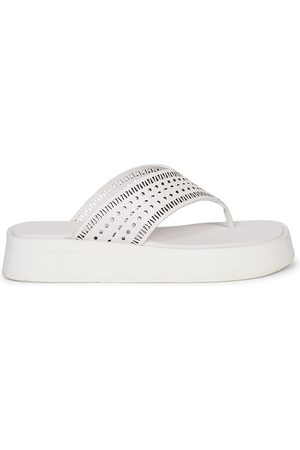 Alaïa Women Sandals - Women's Perforated Leather Platform Thong Sandals - - Size 12