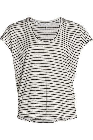 Frame Women T-shirts - Women's Striped Easy Scoopneck Tee - Noir Multi - Size XL