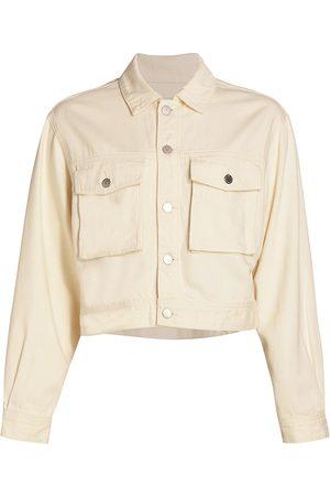 AG Jeans Women's Mirah Crop Denim Jacket - Ecru Dunes - Size Large