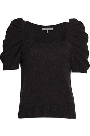 Frame Women Short sleeves - Women's Femme Squareneck Short-Sleeve Cashmere Sweater - Charcoal Heather - Size XL