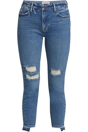 Frame Women High Waisted - Women's Le High Release Stagger-Hem Skinny Crop Jeans - Clarin Rips - Size Denim: 29