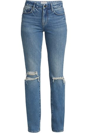 Frame Women Bootcut - Women's Le Mini Boot-Cut Jeans - Mont Grove Rips - Size Denim: 30