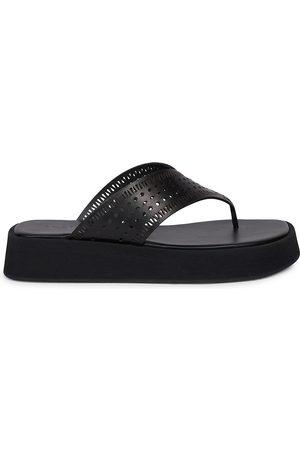 Alaïa Women Sandals - Women's Perforated Leather Platform Thong Sandals - Noir - Size 5
