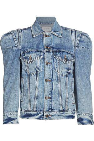 Frame Women Denim Jackets - Women's Rosette Puff-Sleeve Jacket - Langton - Size Small