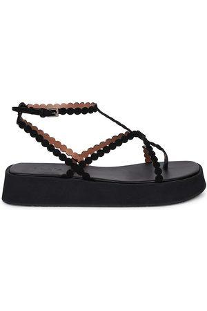 Alaïa Women Sandals - Women's Leather Flatform Sandals - Noir - Size 12