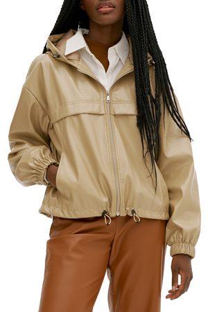 Noize Women's Faux Leather Water Resistant Hooded Windbreaker