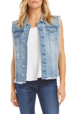 Karen Kane Women's Distressed Cutoff Denim Vest