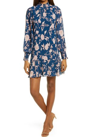 Chelsea Women's Floral Pleat Long Sleeve Minidress