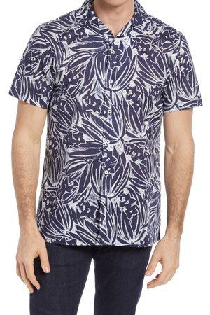 Bugatchi Men's Print Shaped Fit Short Sleeve Button-Up Shirt