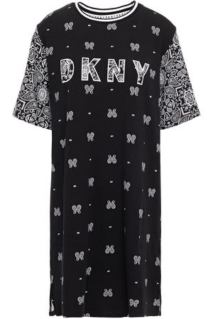 DKNY Women Nightdresses & Shirts - Woman Vintage Fresh Embroidered Printed Cotton-blend Jersey Nightshirt Size L