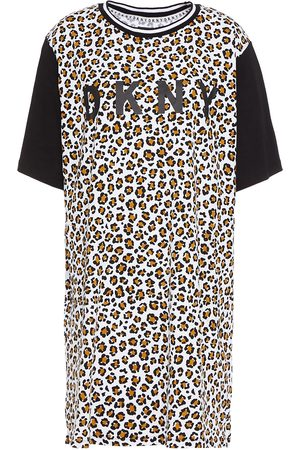 DKNY Women Nightdresses & Shirts - Woman Leaving Our Mark Printed Cotton-blend Jersey Nightshirt Animal Print Size L
