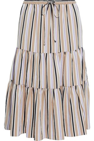 CHINTI & PARKER Women Midi Skirts - Woman Gathered Striped Jacquard Midi Skirt Size 10