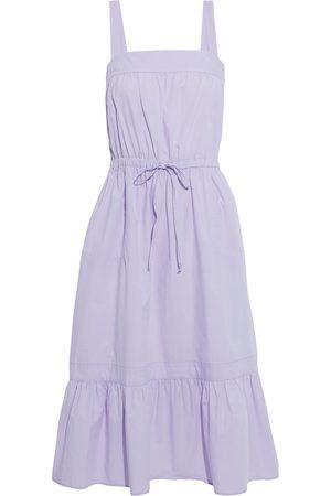 CHINTI & PARKER Women Midi Dresses - Woman Gathered Cotton-poplin Midi Dress Lilac Size 10