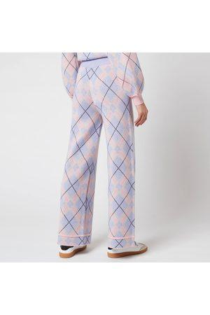 OLIVIA RUBIN Women's Isobel Knitted Wide Leg Check Trousers