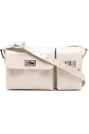 BY FAR Double-flap leather bag - Neutrals