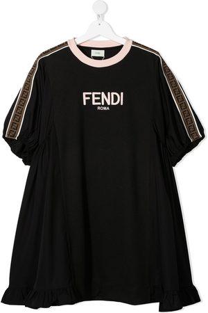 Fendi Kids TEEN logo-trim dress