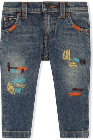 Dolce & Gabbana Kids Embroidered straight-leg jeans