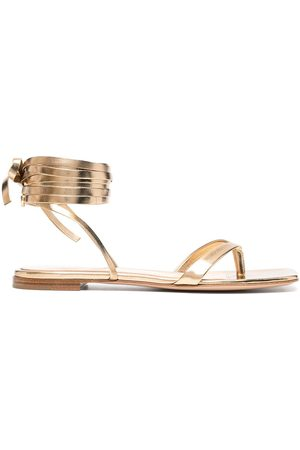 Gianvito Rossi Metallic-effect lace-up sandals