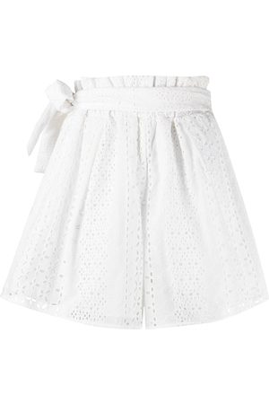 Federica Tosi High-rise paperbag embroidered shorts