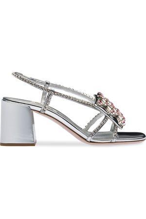 Miu Miu Metallic crystal-embellished slingback sandals