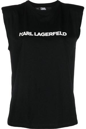 Karl Lagerfeld Logo-printed shoulder-pad tank top