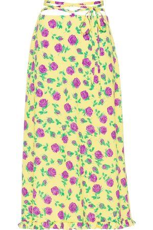 Miu Miu Rose-print mid-length skirt