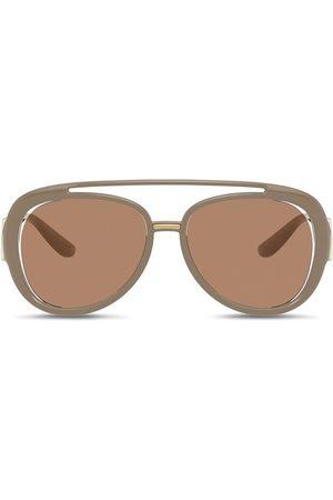 Dolce & Gabbana Eyewear DG Monogram aviator-frame sunglasses - Neutrals