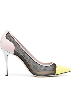 Sergio Rossi Leather and mesh detail stiletto pumps