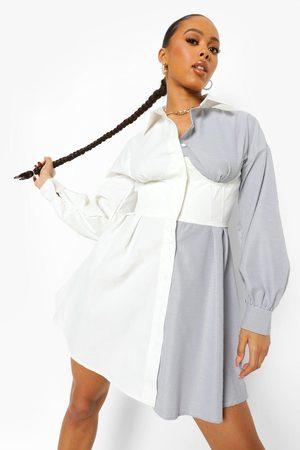 Boohoo Womens Contrast Corset Detail Shirt Dress - - 4