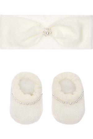 La Perla Girls Socks - Knit Headband & Socks W/ Faux Pearls