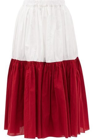 SARA LANZI Bi-colour Banded Cotton-poplin Midi Skirt - Womens