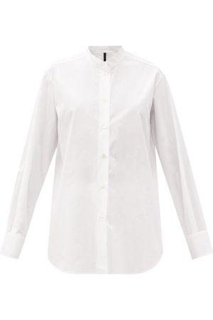 SARA LANZI Women Shirts - Stand-collar Cotton-poplin Shirt - Womens