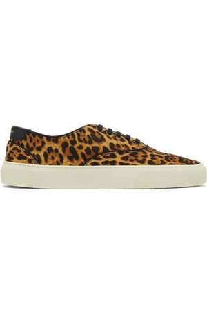 Saint Laurent Venice Leopard-print Canvas Trainers - Mens