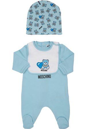 Moschino Cotton Sweat Romper, Bib & Hat
