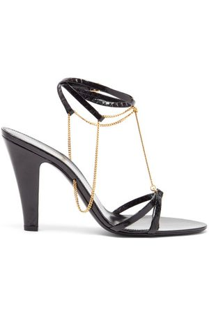 Saint Laurent Women Sandals - Sue Chain-embellished Leather Sandals - Womens