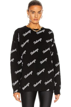 Balenciaga Long Sleeve Logo Crewneck Sweater in
