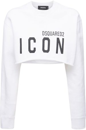 Dsquared2 Women Sweatshirts - Icon Cotton Jersey Crewneck Sweatshirt