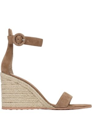 Gianvito Rossi Women Sandals - 85mm Suede Espadrille Wedges