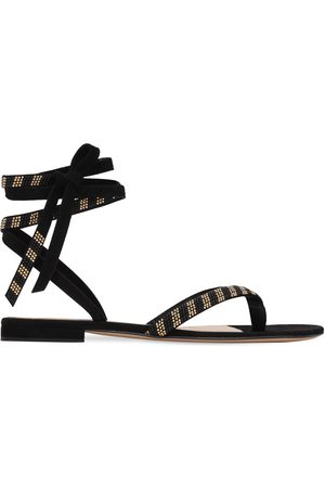 Gianvito Rossi Women Sandals - 10mm Embellished Suede Thong Sandals