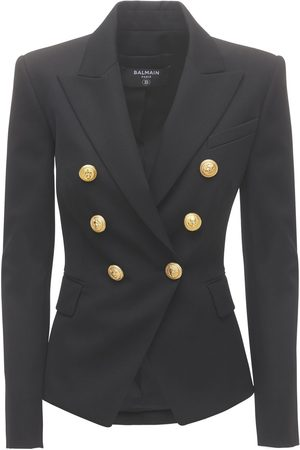 Balmain Women Blazers - Double Breasted Wool Twill Blazer
