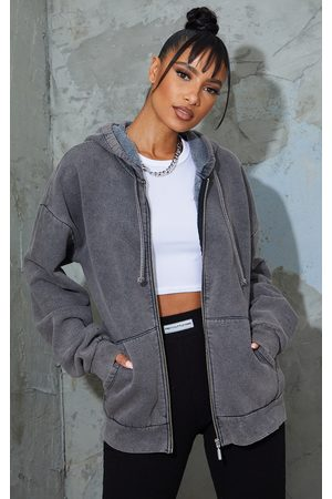 PRETTYLITTLETHING Charcoal Oversized Washed Zip Up Hoodie