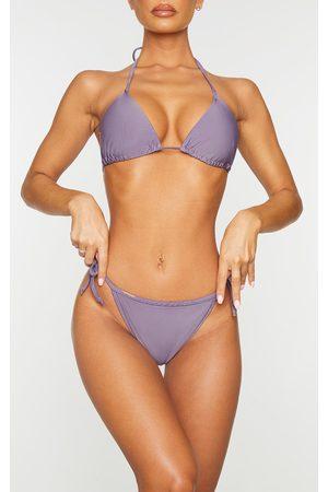 PRETTYLITTLETHING Aubergine Mix & Match Tie Side Bikini Bottoms