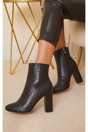 PRETTYLITTLETHING Croc Wide Fit Behati Block Heeled Ankle Boot
