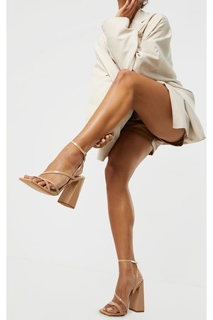 PRETTYLITTLETHING Nude Patent PU Square Toe Strappy High Block Heeled Sandals