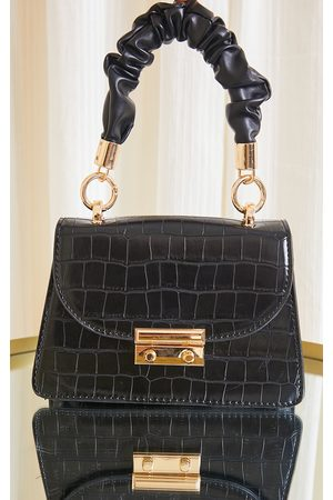 PRETTYLITTLETHING Ruched Handle Croc Grab Bag