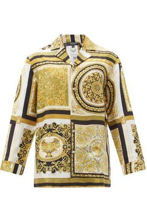 VERSACE Men Pajamas - Baroque-print Silk-satin Pyjama Shirt - Mens - Multi