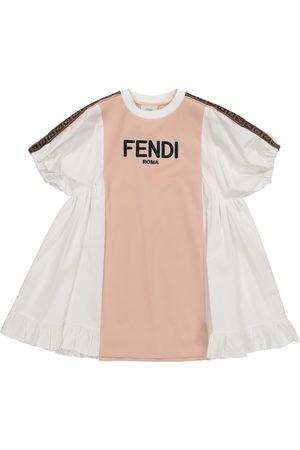 Fendi Logo piqué and poplin dress
