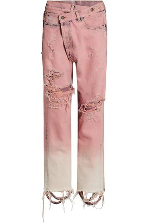 R13 Women's Distresssed Crossover Jeans - Faded Garment Dye - Size Denim: 29